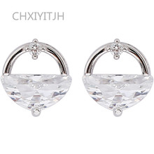 925 Sterling silver Stud earrings Small and pure fresh ShanZuan Womens fashion jewelry wholesale