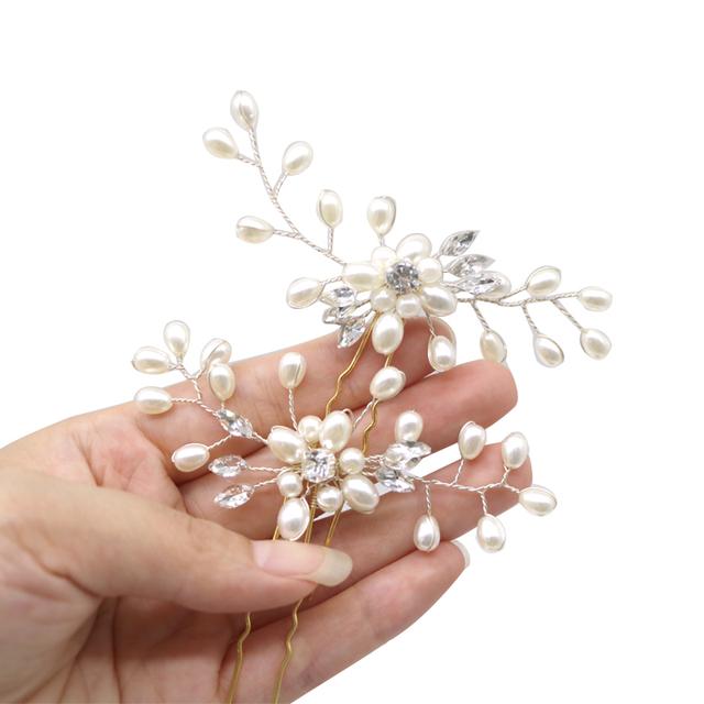 1Pcs Crystal Pearl Hairpins Women Lady Hair Clips Hairclip Hair Flowers Brides Wedding Hair Accessories Headdress Headwear
