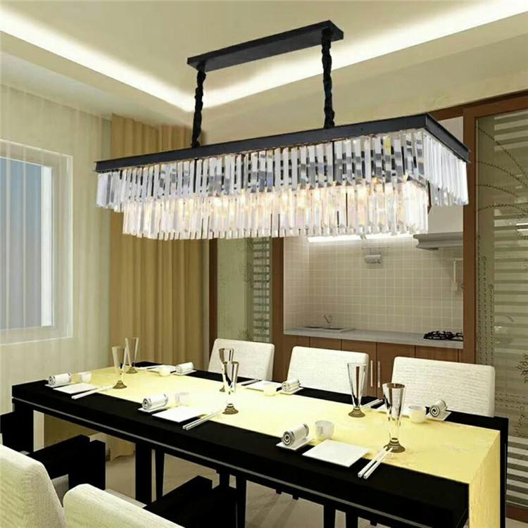 цена на New Large E14 LED Crystal Luxury Rectangular Pendant Light Modern Creative Iron Lamps for Dining Room Foyer Free Shipping