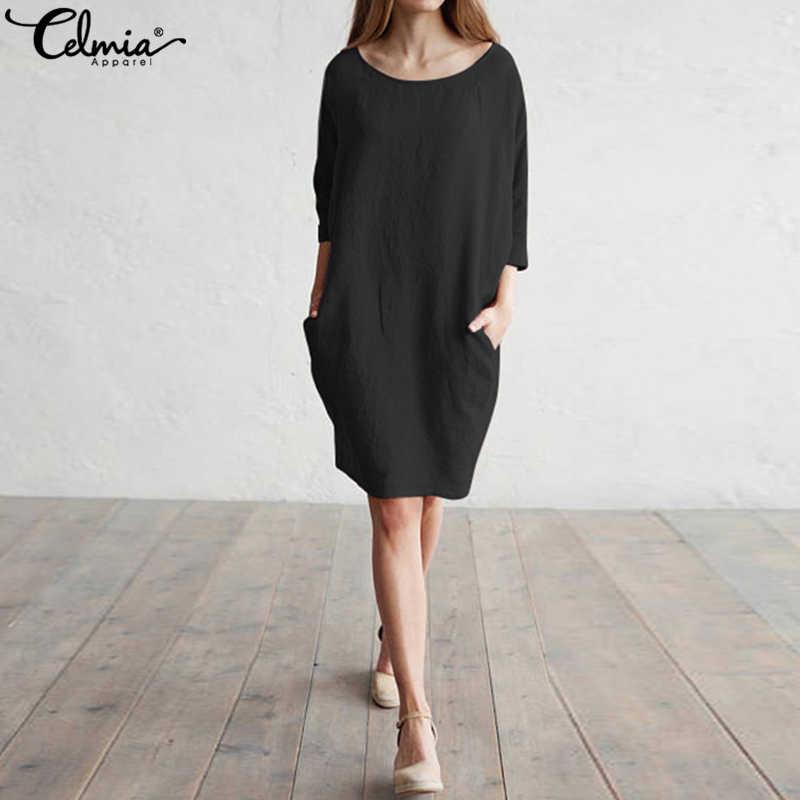 70d2abab613 ... 2018 Celmia Summer Casual Dress Women Work Batwing Sleeve Soild Linen  Shirt Dresses Long Top OL ...