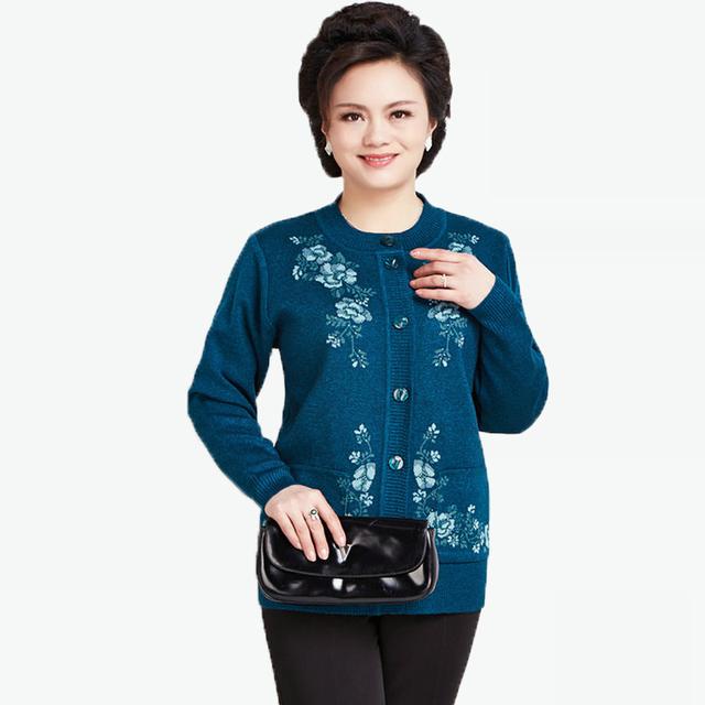 Suéter de Lana Para Las Mujeres Chaqueta de invierno Cálido Mujer Flor de La Impresión de Punto de Las Señoras Bordado Suéteres Cardigans Grandmather Mamá