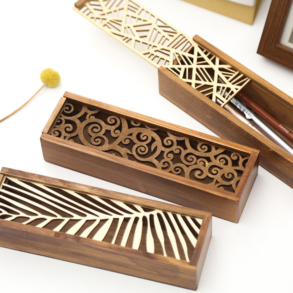 New creative Fashion Hollow out Wooden School Pencil Box Pen Case High - grade gift box Vintage Stationery new top grade gift pure tan wooden type h chun tan mu shu h kuan