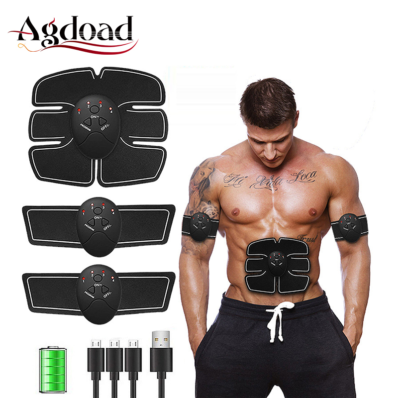 Smart Fitness Trainer Electric Muscle Stimulator EMS ABS Vibrator Abdominal Muscle Exerciser Body Shaping Massager Machine USB