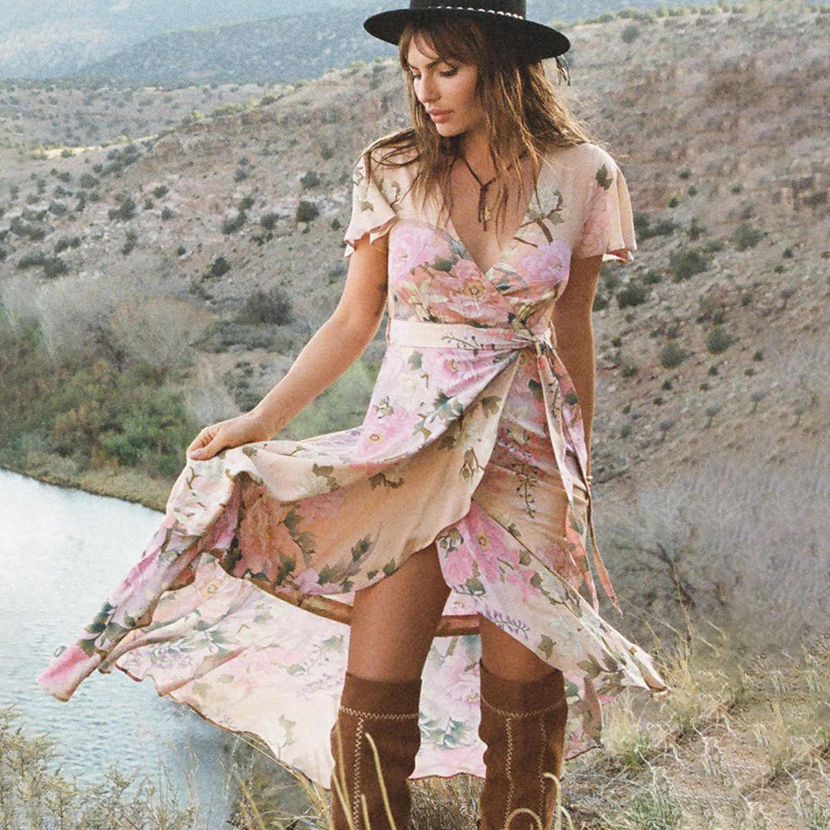 36e05054f2 Ethereal Lily Elegant Maxi Dress Women Short Sleeve V neck Sexy Dresses  Ladies Summer Ruffles Gypsy