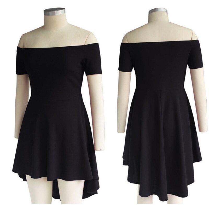 Vestido de verano 2017 Nuevas Mujeres de la Llegada Fuera Del Hombro Vestidos de Fiesta Negro Burdeos Azul Casual Midi Vestido Vestidos Elegantes de La Vendimia