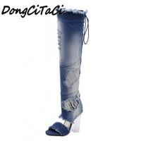 DongCiTaCi Summer Women High heels Sandals boots Woman Shoes Ladies Over The Knee Open toe Transparent Heel fray Long Boots