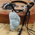 Natural Un Grado Jadeíta Mujeres Riendo Buda Maitreya Colgante, Envío libre.