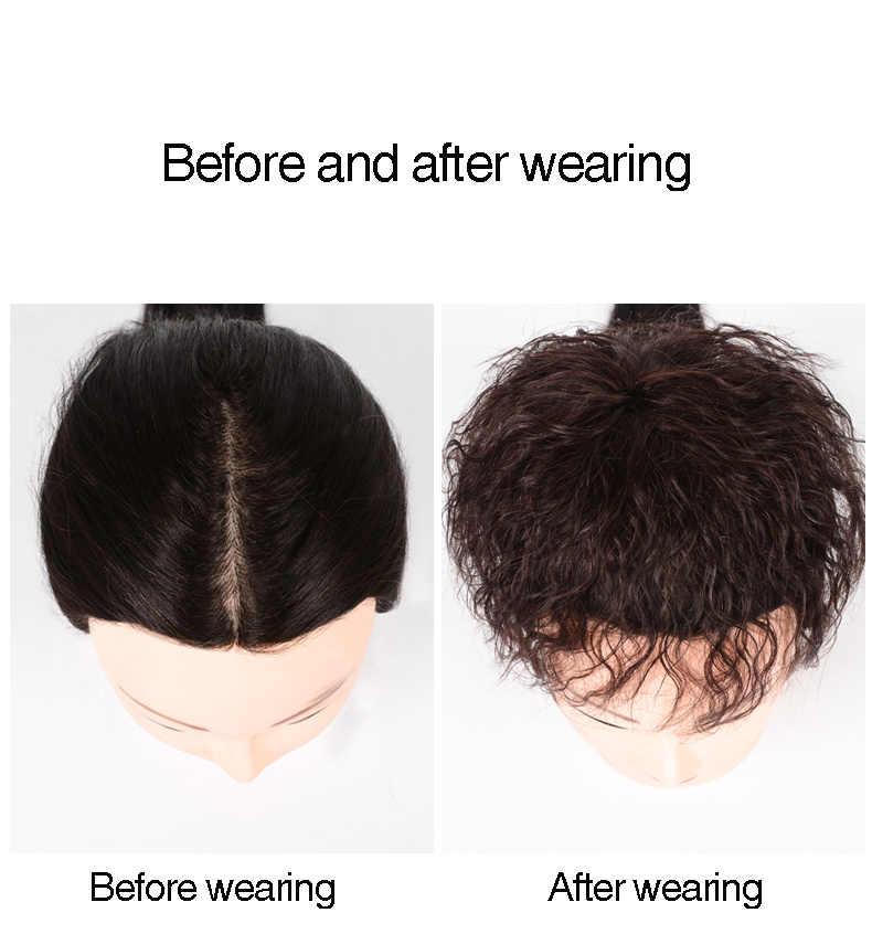 MUMUPI Для женщин кукурузы Горячая натурального Цвета Короткие вьющиеся клип застежка волос высокое Температура человеческие волосы парик клип женский парик