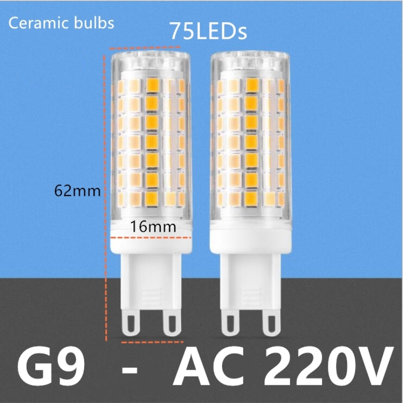 G9 LED Lamp 33leds 51leds 75leds SMD 2835  AC220V Ceramic LED Ceramic Crystal LED Bulb High Power Spotlight For Chandelier