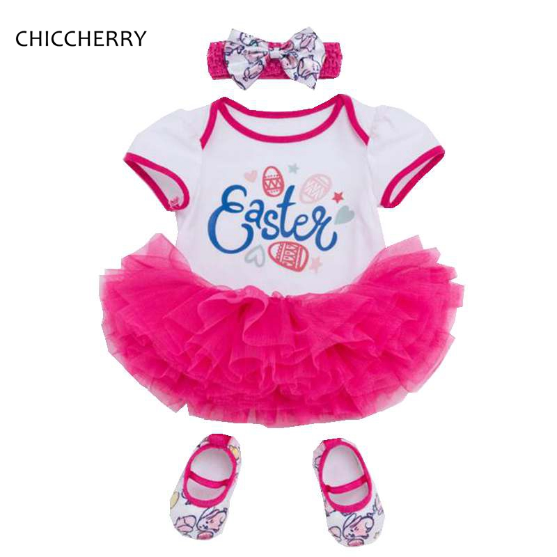Girls Easter Outfit Baby Girl Romper Dress Headband Crib Shoes 3-Piece Newborn Clothes Toddler Girls Summer Clothing Bebek Giyim baby girls infant love applique tutu set baby lace romper dress crib shoes headband 3 piece newborn baby girl clothing set bebe