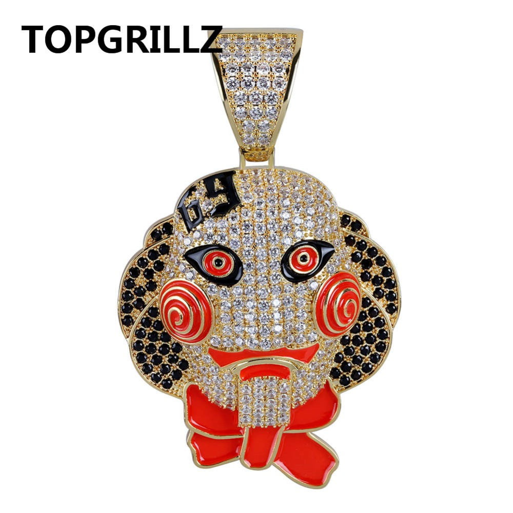TOPGRILLZ 69 Saw Clown Pendant Necklace Iced Out Chains Copper Material Hip Hop Gold Silver Color Men Women Charms Jewelry