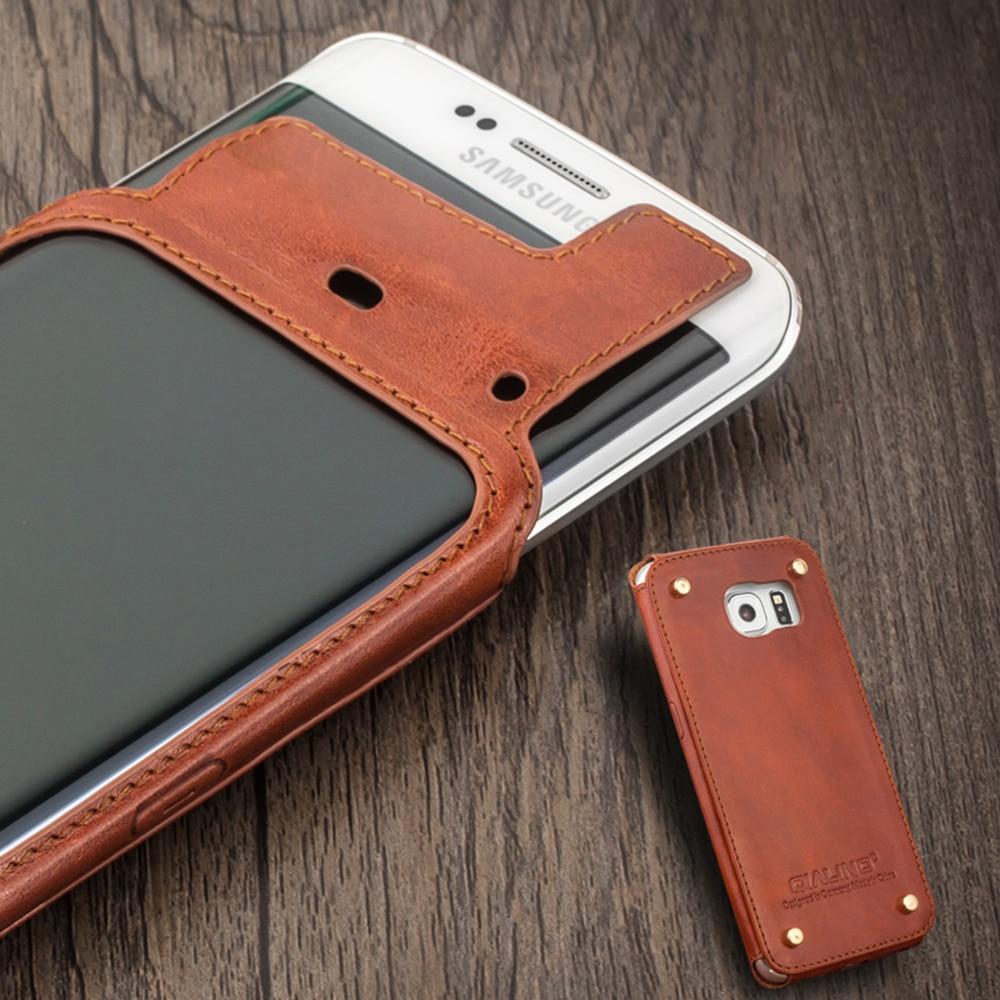 imágenes para 2015 Diseño Único QIALINO Genuino caja Del Teléfono de Cuero para Samsung Galaxy S6 edge Diseño de Remaches en Volver proteger el teléfono y cuero