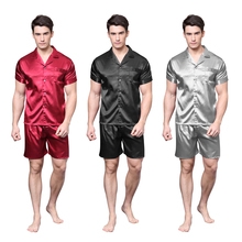Tony&Candice Satin Silk Pajamas Shorts For Men Rayon Sleepwear Summer Male Pajama Set Soft Nightgown Pyjamas