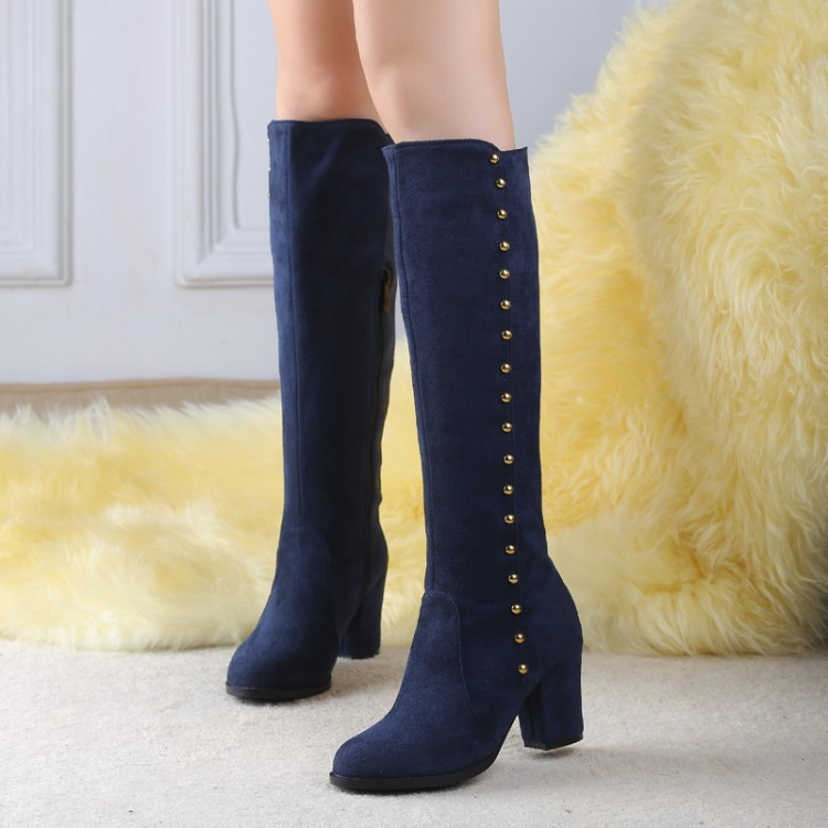 625328c67a2a Autumn and winter round toe rivets fashion boots high heels wine red  sapatos feminina hot sale women s shoes-in Knee-High Boots from Shoes on  Aliexpress.com ...