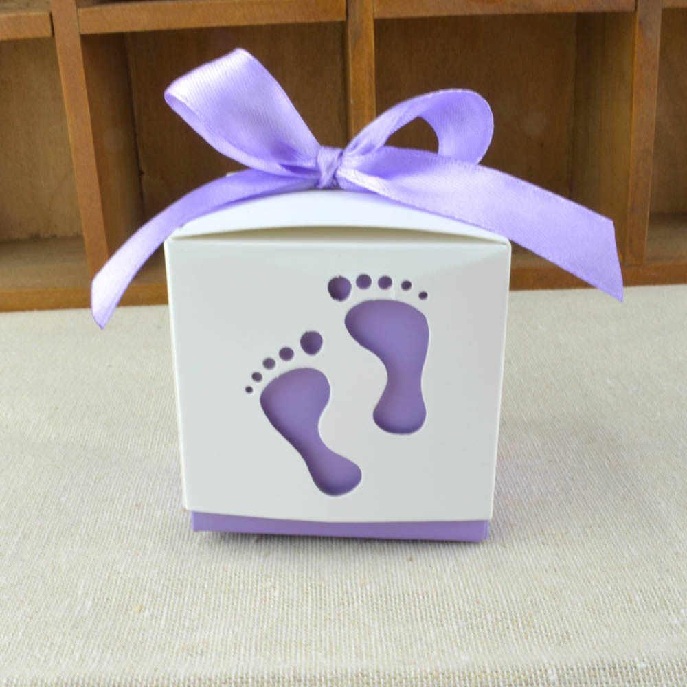 50pcs/lot New creative European baby footprint candy box full moon wedding gift box small candy box gift box