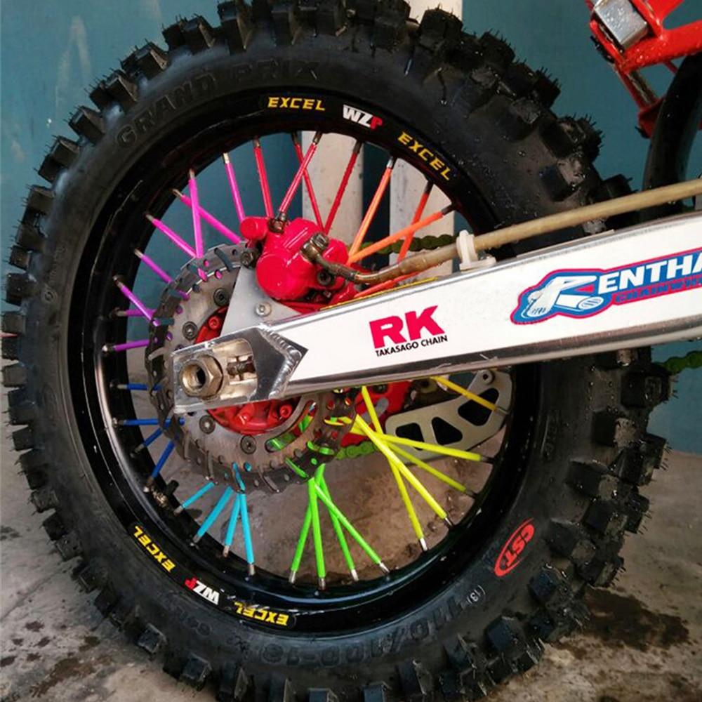 цена на Motocross Spoke SKINS Wheel RIM SPOKE COVERS bicycle For Kawasaki KTM bmw SUZUKI XR650L cbr1000r Super Tenere WR250X 500 EXC
