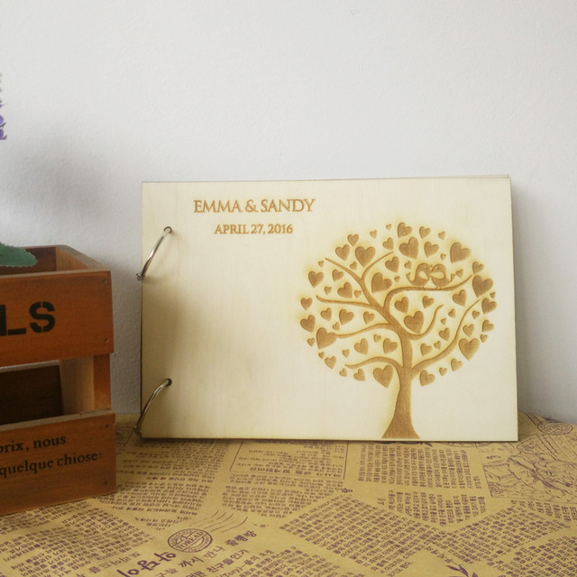 Wedding Tree Pattern Rustic Wooden Guestbook Personalized Wood ...