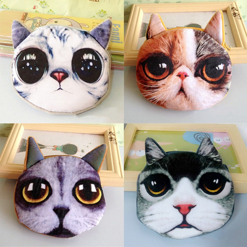 Official Website New 3d Printing Cat /dog Face Zipper Case Children Coin Purse Lady Cute Wallet Pouch Women Girl Makeup Buggy Bag Luggage & Bags Coin Purses & Holders
