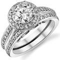 LASAMERO Round 2 CT ASCD Simulated Diamond Halo Accents Engagement Ring 925 Sterling Silver Bridal Wedding Set