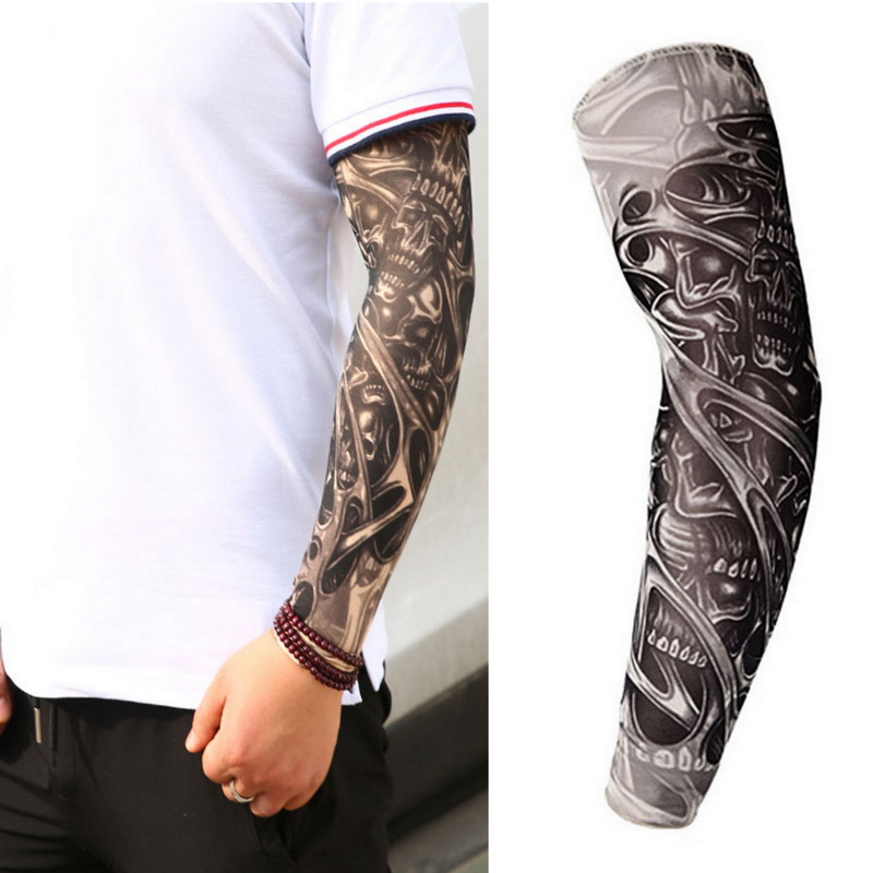 Fake Temporary Tattoo Sleeves Tattoos Full Long Slip On Arm Tattoo Sleeve Kit Men Elastic Nylon Glove Tattoos Black Skull Design(China)