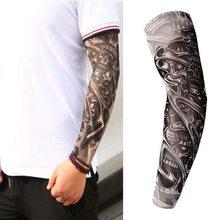 110409da0 Fake Temporary Tattoo Sleeves Tattoos Full Long Slip On Arm Tattoo Sleeve  Kit Men Elastic Nylon Glove Tattoos black skull design