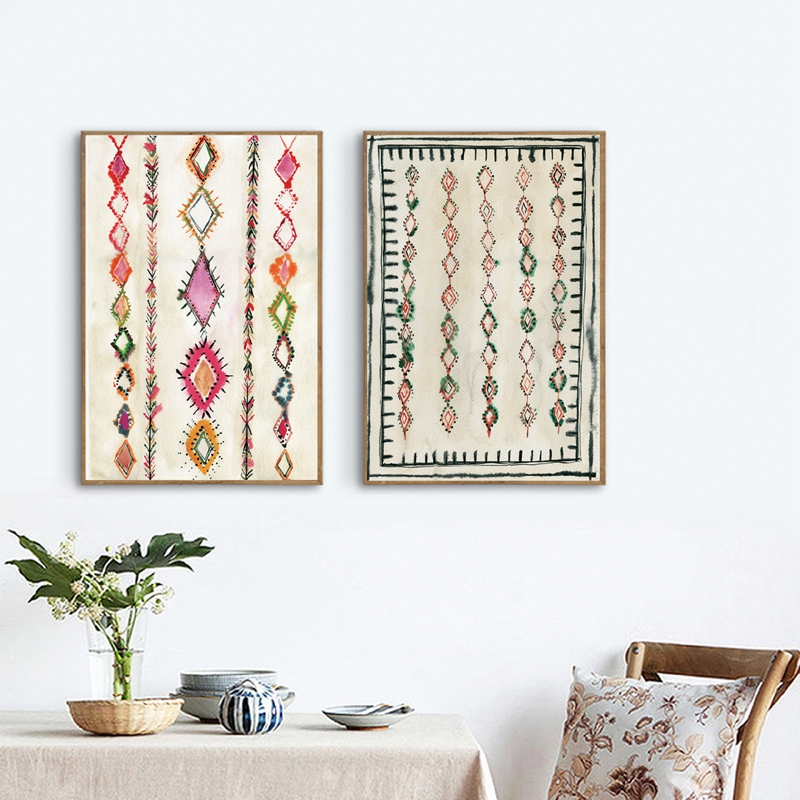 Moroccan Rug Art Painting Boho Wall Pictures , Abstract
