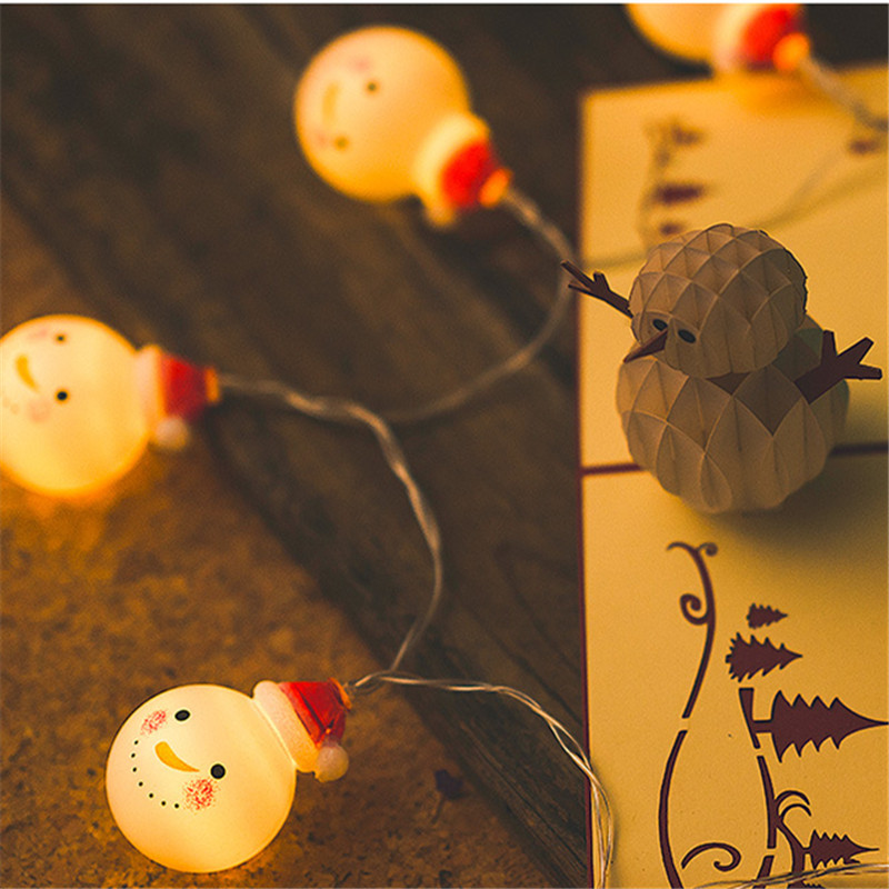 VOILEY Home Decoration for Christmas New Year Party Diy Decoration Snowman 1.5M 10LED Power Lights Outdoor Decor Fairy Garland,0
