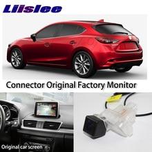 LiisLee Alta Qualità Vista Posteriore Telecamera Posteriore Per Mazda 3 Mazda3 Hatchback BM 2014 ~ 2017 Collegare Schermo Originale Della Fabbrica Monitor
