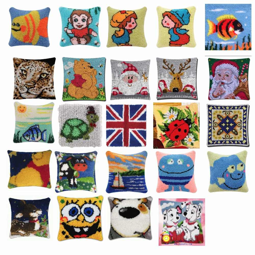 2 animals Cushion Latch Hook Kit Pillow Mat DIY Craft Cat 42CM by 42CM Cross Stitch Needlework Crocheting Cushion Embroidery