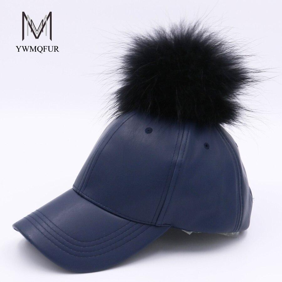 YWMQFUR Autumn Winter Pu Baseball Cap Hip Hop With Real Raccoon Fur Ball Pom Pom For Women Fur Hat Fashion Faux Leather Hats 106