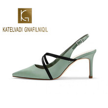 KATELVADI Women Sandals Summer Green Satin Fashion High Heels Pointed Toe Shoes Female Thin Heel Ladies Size 35-40 K-387