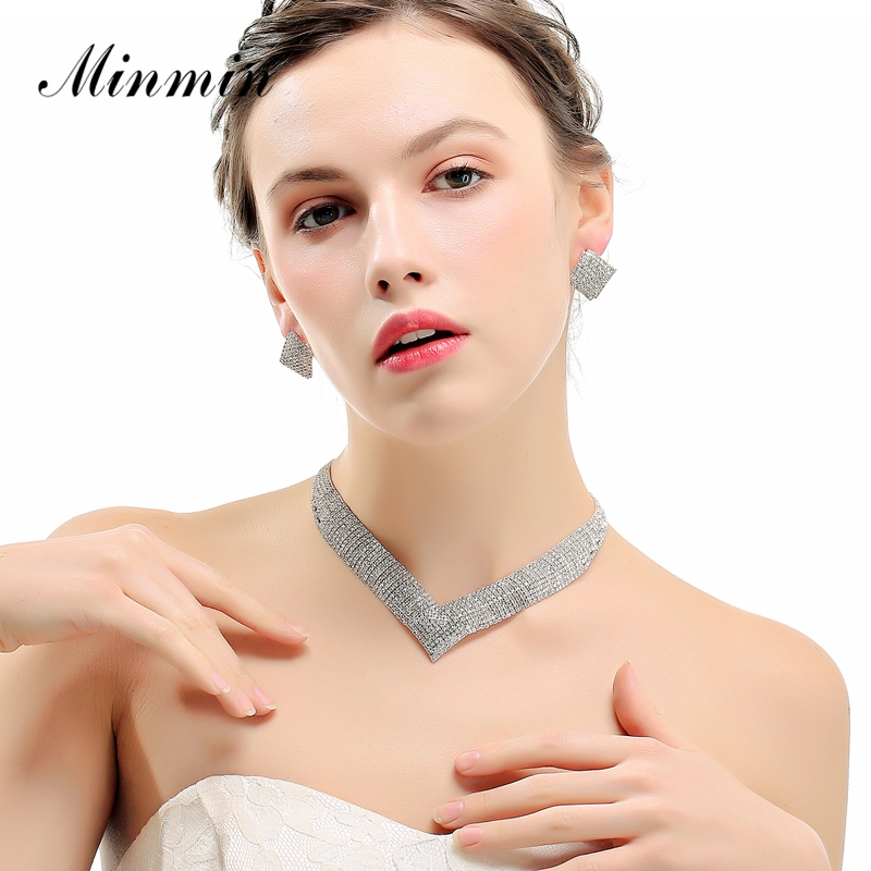 Minmin Clássico cor Prata-Cristal Wedding & Engagement Jóias Define Geométrica-Forma Strass Colar Nupcial Set para MTL475