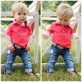 2 Unids/set Bebé Ropa Establece Muchachos Del Niño Guapo T-shirt + Denim pantalones pantalones ropa trajes para 3 a 7 años niños