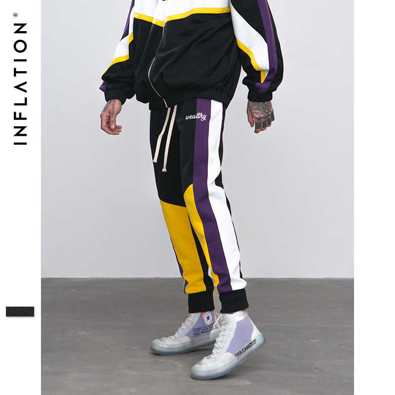Şişirme sıska Hip Hop moda erkek kargo pantolon rahat ayak bileği uzunlukta Harem Jogger elastik bel erkek Casual SweatPants 8849W