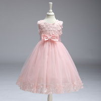 Retail O Neck Flowers Girl Dresses Appliques Bow Sleeveless Dresses With Ribbon Elegant Party Knee Length