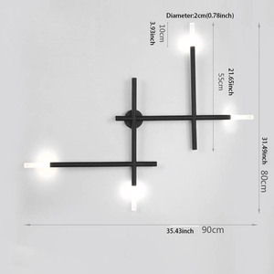 Image 3 - Moderne nordique fer ligne de tuyau LED applique chevet veilleuse chambre salon allée applique luminaire mural décor Art