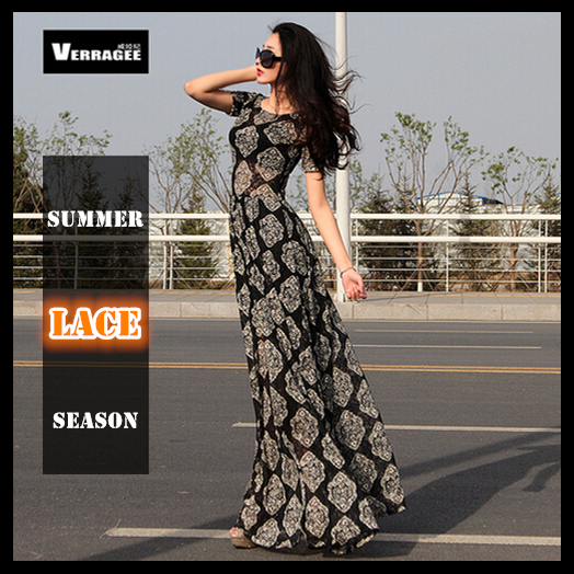 cc920fc85a65 Women summer summer long casual dress 2015 lace maxi dresses new fashion short  sleeve floor length slim vintage full vestidos-in Dresses from Women's ...