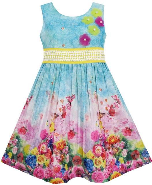 Sunny Fashion Vestido niña Blooming Rosa Jardín Flor Impresión Sin mangas Azul