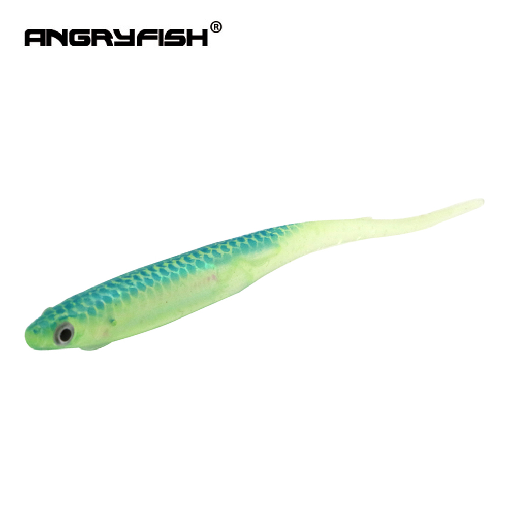 ANGRYFISH New 6Pcs/Lot 90mm Soft Fishing Lures for Fishing Shad Fishing Worm Swimbaits Jig Head Fishing Bait Lure S007