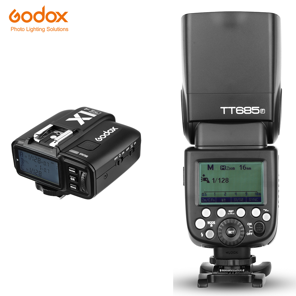 In Stock Godox TT685F 2.4G HSS TTL GN60 Flash Speedlite+ X1T-F Trigger Transmitter Kit for Fuji X-Pro2/X-T20/X-T1/X-T2