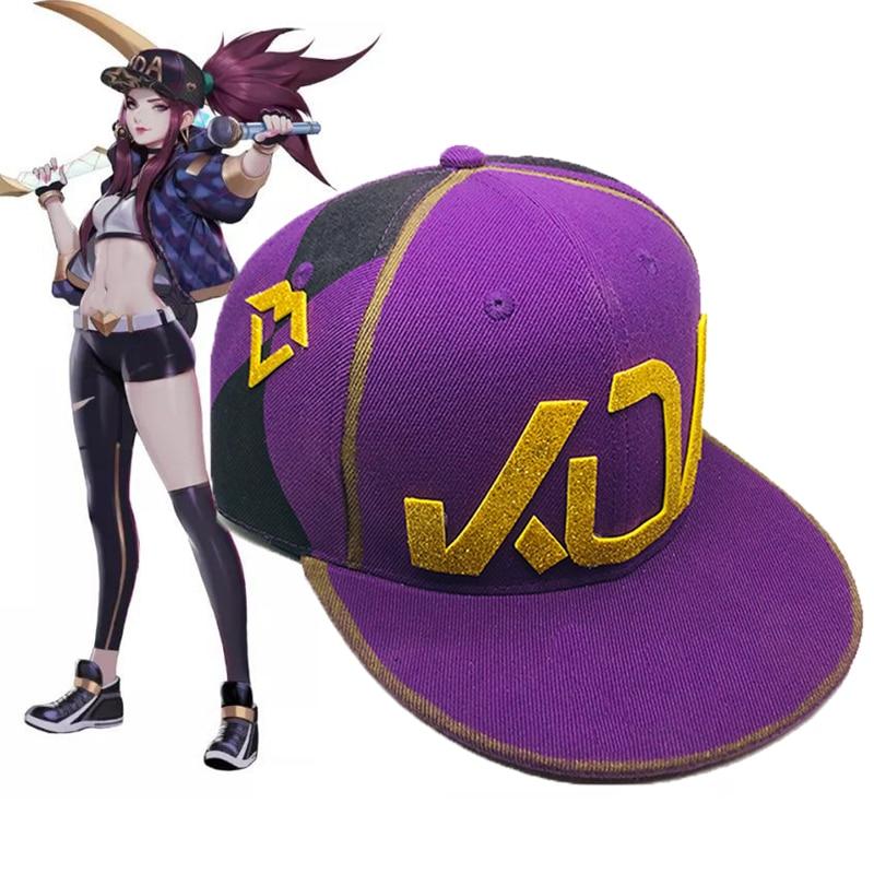Game KDA AKALI Hat Cosplay Props K/DA Akali Purple Snapback Baseball Cap Women Men Christmas Gifts