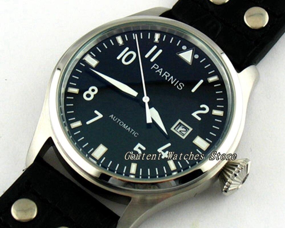 Schwarzes Zifferblatt Datum Fenster Seagull Automatische Herrenuhr Süß GehäRtet 47mm Parnis Silber Ss Herrenuhren Uhren
