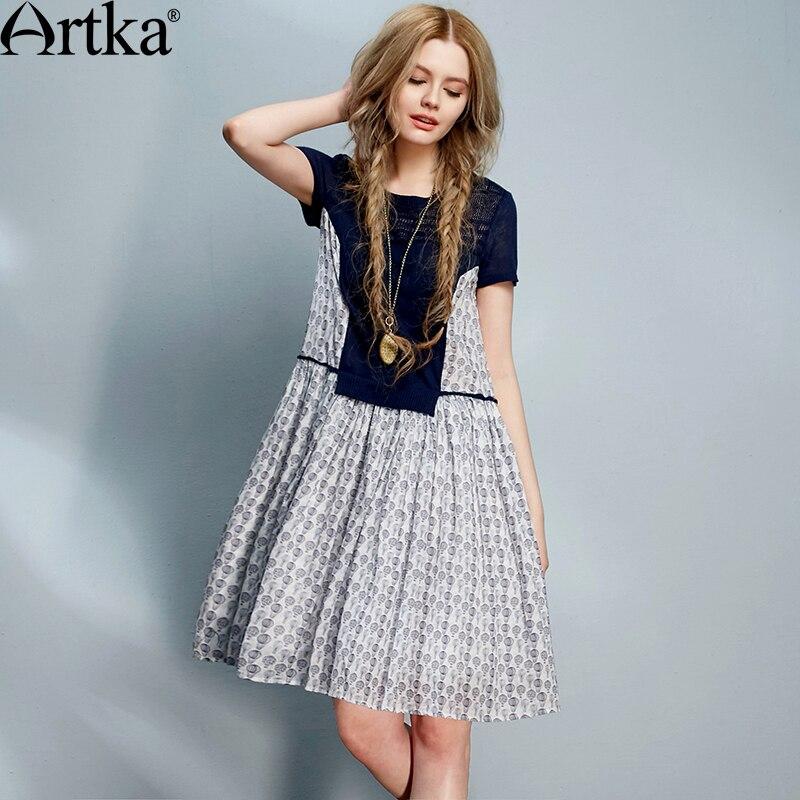 Artka mujeres del verano nuevas de la vendimia del o-cuello de estilo suelto de