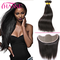 13x4 Lace Frontal Closure With Bundles 3pcs Brazilian Straight Hair With Frontal Lace Closure 7A Virgin Human Hair With Closure