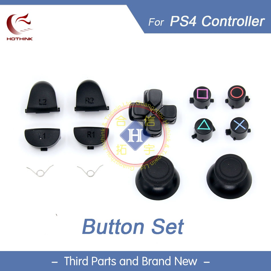 HOTHINK Replacement Black 3D Joystick Analog Cap L2 R2 L1 R1 With Spring D Pad Buttons Set For PS4 Controller