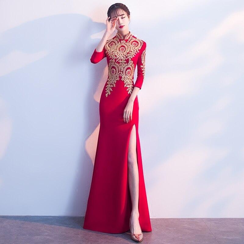 Modern Long Traditional Women Chinese Bride Dresses Oriental Qipao Wedding Gowns Dress Embroidery Cheongsam Sexy Open Fork cele goldsmith lalli modern bride® wedding celebrations