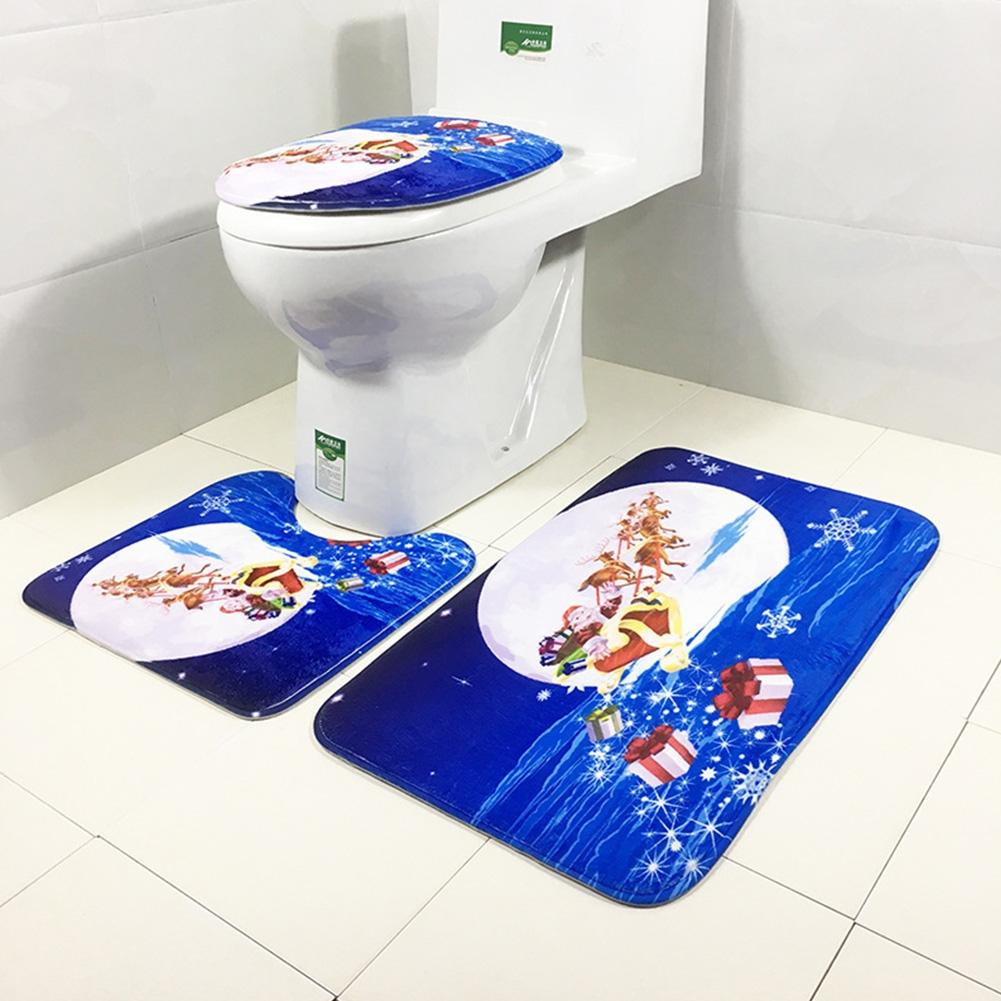 Adeeing 3Pcs/Set Non-Slip Toilet Seat Covers Christmas Decorations Xmas Bathroom Rug Mat Set