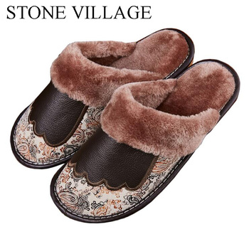 Genuine Leather Slippers Women New Indoor Shoes Home Slippers Soft Bottom  Wood Floor Non Slip Warm Plush Cotton Men Slippers 1