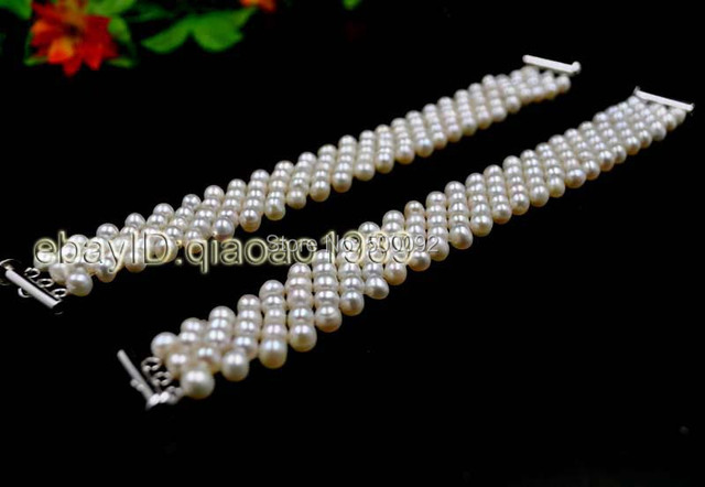 wholesale 10 Qty white freshwater pearl handcraft bracelets free shipping