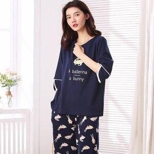 Image 3 - Woman Lovely Wear Leisure Clothes Personality Spring Summer White Rabbit Print Three Quarter Women Pajamas For Women Pyjamas Set